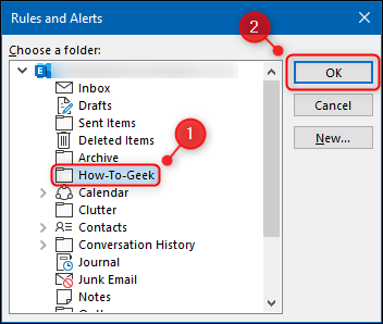 The folder selection panel.