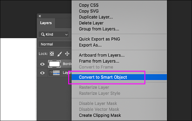 converting a regular layer to a smart object