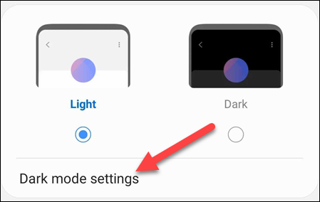 dark mode settings