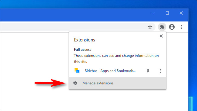"In Google Chrome, click ""Manage extensions"""