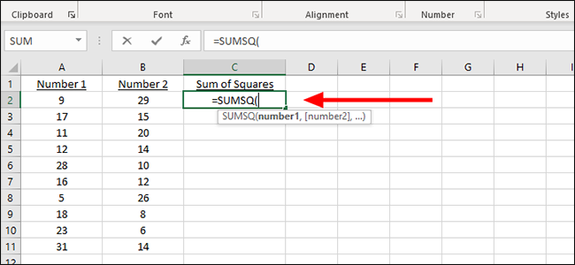 sumsq formula excel