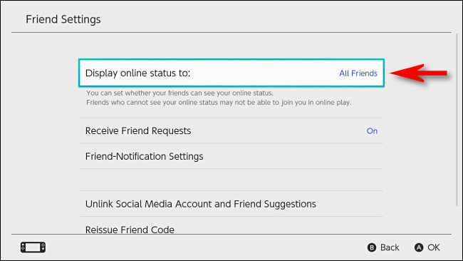 "In Switch user settings, select ""Display online status to."""