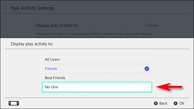 "On the Switch, set ""Display play activity to"" to ""No one."""